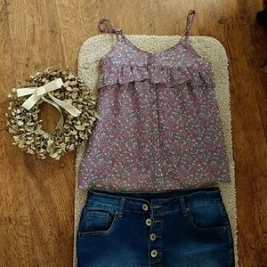 VGUC Floral Button Up Ruffle Tank SMALL
